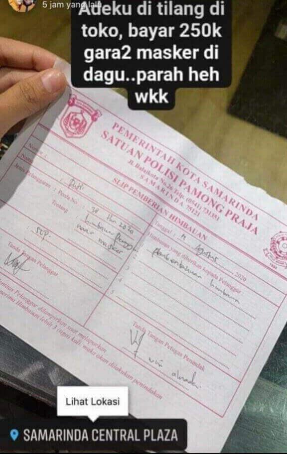 Viral, Unggahan Foto Denda Masker! Satpol PP Samarinda Membantah - headlinekaltim.co
