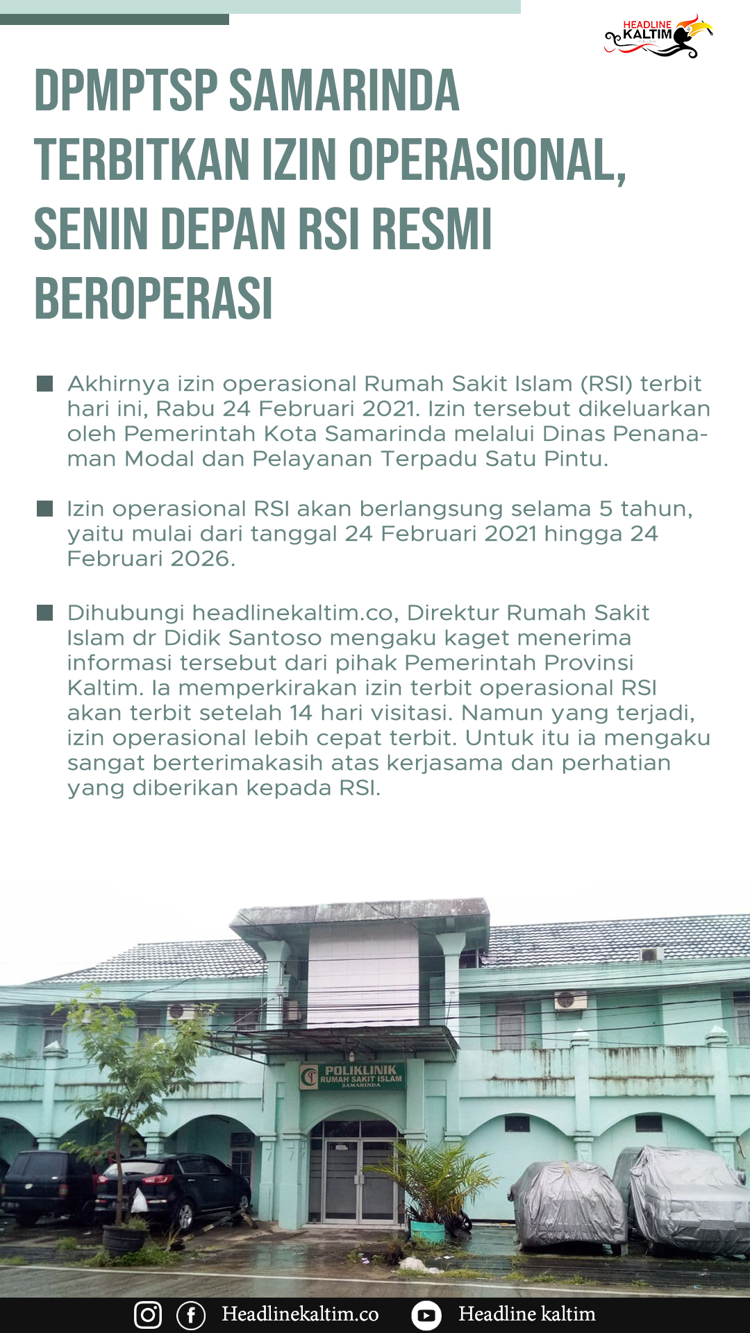 DPMPTSP Samarinda Terbitkan Izin Operasional, Senin Depan RSI Resmi Beroperasi