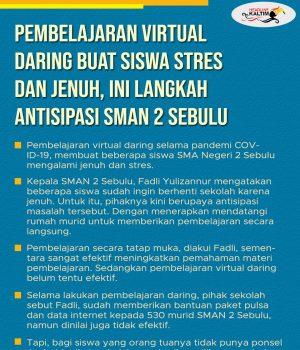 Pembelajaran Virtual Daring Buat Siswa Stres dan Jenuh, Ini Langkah Antisipasi SMAN 2 Sebulu